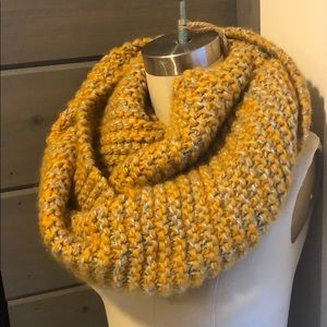 Mustard and gray infinity warm scarf